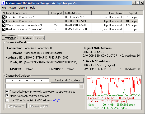 technitium MAC address changer screenshot